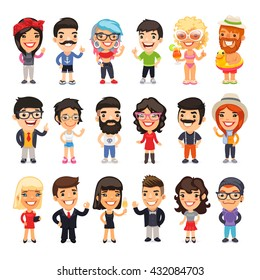 Set of 18 casually dressed flat cartoon people. Isolated on white background. Clipping paths included.