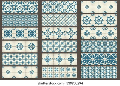Set of 18 Classic seamless Templates of Moroccan tiles, ornaments for kitchen, blue STYLE