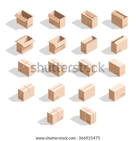 Set 18 Realistic Isometric Cardboard Boxes Stock Vector Royalty