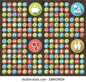 Set of 180 Flat Family Education Medical Icons with Shadows on Circular Contemporary Modern Buttons on Wood Texture.