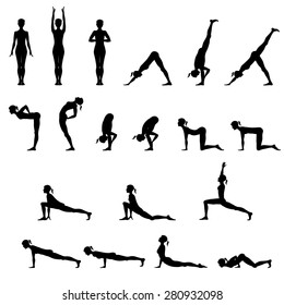 Set Of 19 Yoga Positions Black Vector Silhouettes Illustration