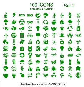 Set 2 of 100 ecology icons – stock vector