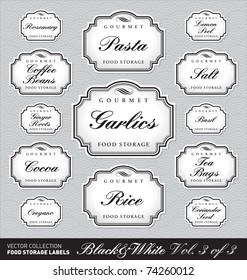 Set (2 of 3) of 13 ornate vector labels for kitchen jars/containers of different sizes. Elegant monochrome retro frames. Stylish monochrome elements for your design.