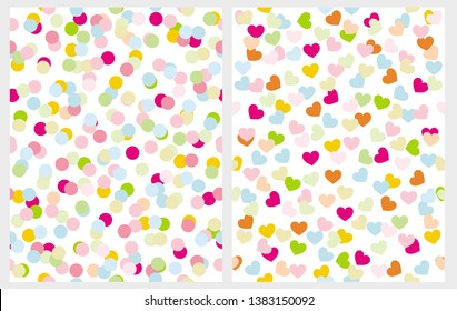 Set of 2 Abstract Seamless Irregular Vector Patterns with Dots and Hearts on a White Background. Multicolor Doted Design. Funny Romantic Layout. Colorful Confetti Rain of Dot and Heart Shape.