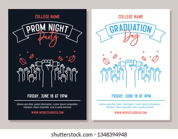 Set of 2 academic posters. Vector illustration for Prom Night Party invitations and another for Graduation day events. Hands raised throwing academic hats up and showing diploma. Congrats graduates