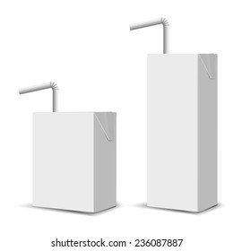 Set of 2 blank milk or juice small carton boxes with straws for branding