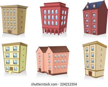 set 2, Building apartment house construction condo residence tower penthouse collection vector illustration.