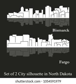 Set of 2 City silhouette in North Dakota ( Fargo, Bismarck )