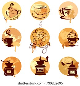 Set 2 of coffee cups and coffeemills icons on gunge background, stylized sketch symbols for restaurant or cafe menu. Calligraphic text Enjoy the little things.