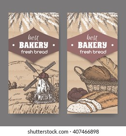 Set of 2 color vintage bakery label templates with windmill, wheat and bread on cardboard background. Great for bakery and bread shop ads, brochures, labels.