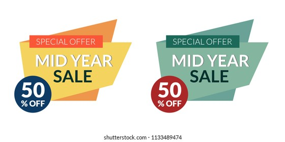 Set of 2 colorful mid year sale banner with 50 percent off sale. Designed for web, mobile apps, business promotion and different prints.