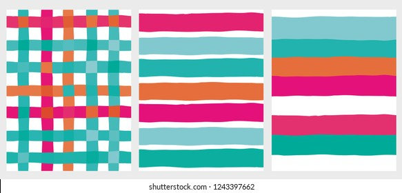Set of 2 Cute Stripes Vector Patterns and Grid Layout. Irregular Infantile Design. White Background. Mint Green, Orange and Pink Lines. Simple Abstract Design.