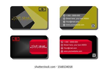Set of 2 double-sided business template with abstract background white black gradation effect