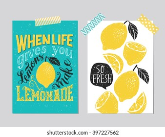 """Set of 2 hand drawn cards. Handwritten retro """"When life gives you lemons make lemonade"""" motivation poster with modern calligraphy  and lemon, card with lemons, speech bubble and handwritten lettering,"""
