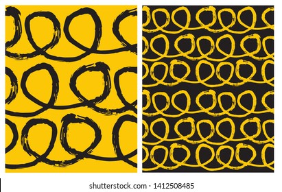 Set of 2 Hand Drawn Irregular Geometric Vector Patterns. Black Horizontal Lines with Loops on a Yellow Background. Yellow Loops Isolated on a Black. Cute Infantile Style Children's Scrawl.