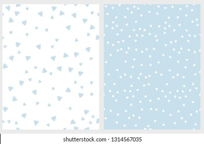 Set of 2 Hand Drawn Triangles Vector Patterns. Irregular Tiny Triangles Design. Light Blue and White Infantile Style Layout. Lovely Abstarct Geometric Illustration. Bright Pastel Color Vector Pattern.