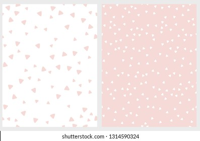 Set of 2 Hand Drawn Triangles Vector Patterns. Irregular Tiny Triangles Design. Light Pink and White Infantile Style Layout. Lovely Abstarct Geometric Illustration.