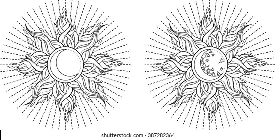 set of 2 images of sun in celtic style