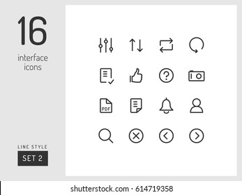 Set 2 of interface icons on the white background. Universal linear icons to use in web and mobile app.