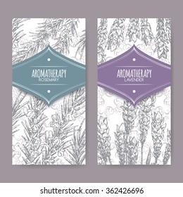 Set of 2 labels with lavender and rosemary on elegant lace background. Aromatherapy series. Great for traditional medicine, perfume design, cooking or gardening labels.