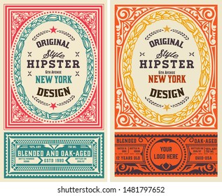 Set of 2 Old liquor labels for packing,  Vector layered
