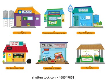 Set 2 of Philippines Commercial and Small Business Establishments  like the popular home-based Sari-Sari store and more. Editable Clip Art.