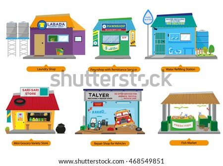 set 2 philippines commercial small business stock vector royalty