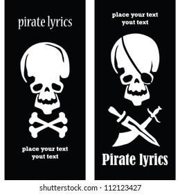set of 2  postcard with skulls