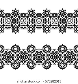 Set of 2 seamless borders in american indian style. Embroidery dotted schemes. Pixel navajo backgrounds. Textile geo prints. Beading chevron design. Tattoo belt. Tel kirma technique.