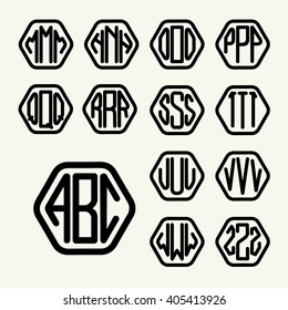 Set 2 template letters to create a monogram of three letters inscribed in a hexagon in modern style