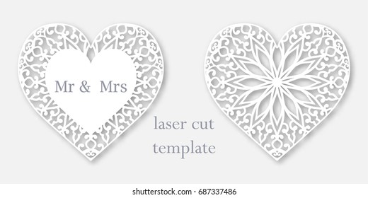 Set of 2 templates of openwork hearts for laser or plotter cutting. Decorative element for design.