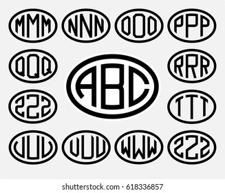 Set 2 of templates from three capital letters inscribed in a oval. From wide lines of the same thickness. To create logos, emblems, monograms. Lineart style