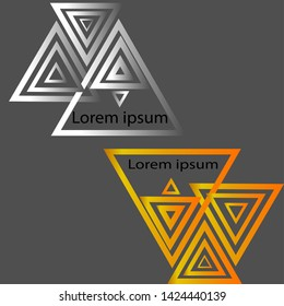 Set of 2 triangle logos, silver and gold, lorem ipsum