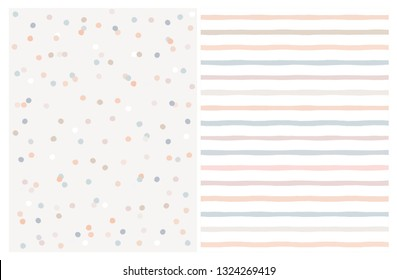 Set of 2 Varius Abstract Vector Patterns. Beige,Blue and Warm Pink Round Shape Falling Confetti.Grey and White Background. Blue, Salmon Pink and Beige Dots and Stripes Design.Cute Infantile Style Art.