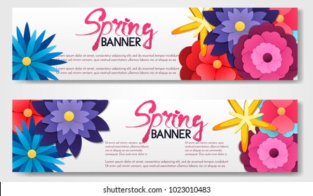 Set of 2 vector brouchure. flyer,banner with paper cut,origami flowers isolated on white background. Spring flower style label.