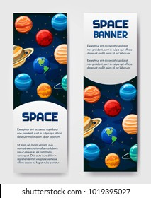 Set of 2 vector flyer,banner,brouchure with planets. Universe, galaxy, cosmic style label