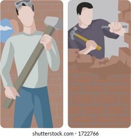 A set of 2 vector illustrations of builders destoying brick walls.
