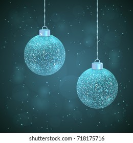 Set of 2 vector silver blue sparkled Christmas balls on dark blue background with bokeh effect