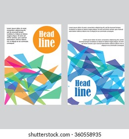 Set of 2 vector templates for brochures, flyers or business reports. Multi-colored triangles.