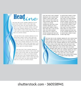 Set of 2 vector templates for brochures, flyers or business reports. Blue style.