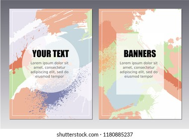 Set of 2 vector templates in pastel colors. Created with hand made and digitalised spots of paint. Great as design for flyers, banners,  cards, posters and another polygraphic products.