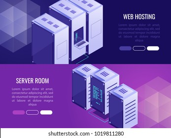 Set of 2 vertical headers with web hosting advertising .Server room and server rack.Vector illustration in isometric 3d style