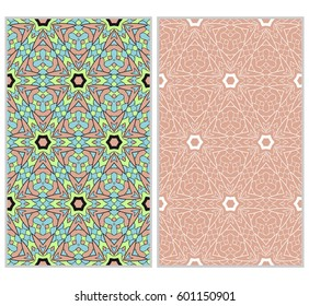 set of 2 vertical seamless patterns. The left is a colored pattern in the style of a kaleidoscope mosaic. The right a lacy texture with floral ornament. vector illustration.