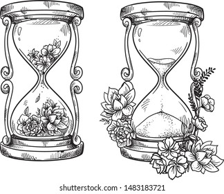 Set of 2 vintage sand  hourglasses with flowers vector  drawing