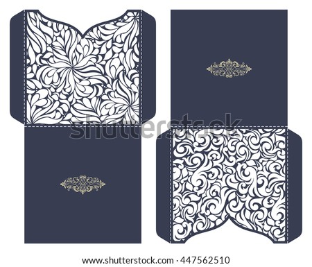 set 2 wedding invitation baroque template stock vector royalty free
