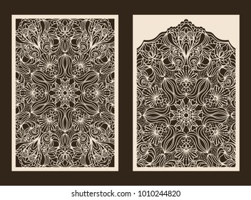 Set of 2 Wedding Invitation or greeting card with lace pattern. Layout congratulatory card with carved openwork pattern. Turkish motif. Pattern suitable for laser cutting, plotter cutting or printing