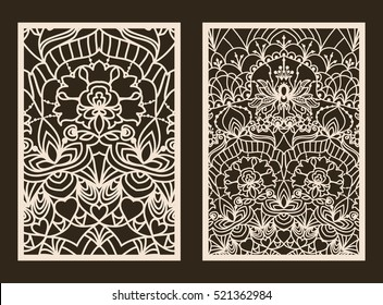 Set of 2 Wedding Invitation or greeting card with lace pattern. Layout congratulatory card with carved openwork pattern. Pattern suitable for laser cutting, plotter cutting or printing. Vector