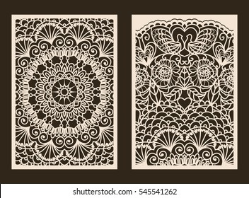 Set of 2 Wedding Invitation or greeting card with lace pattern. Layout congratulatory card with carved openwork pattern. Pattern suitable for laser cutting, plotter cutting or printing. Vector.