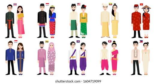 Set of 20 Asian men and women cartoon characters in traditional costume with flag, Brunei, Cambodia, Indonesia, Laos, Malaysia, Myanmar, Philippines, Singapore, Thailand and Vietnam people vector