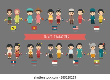 Set of 20 asian men and women in traditional costume with flag , eps10 vector format